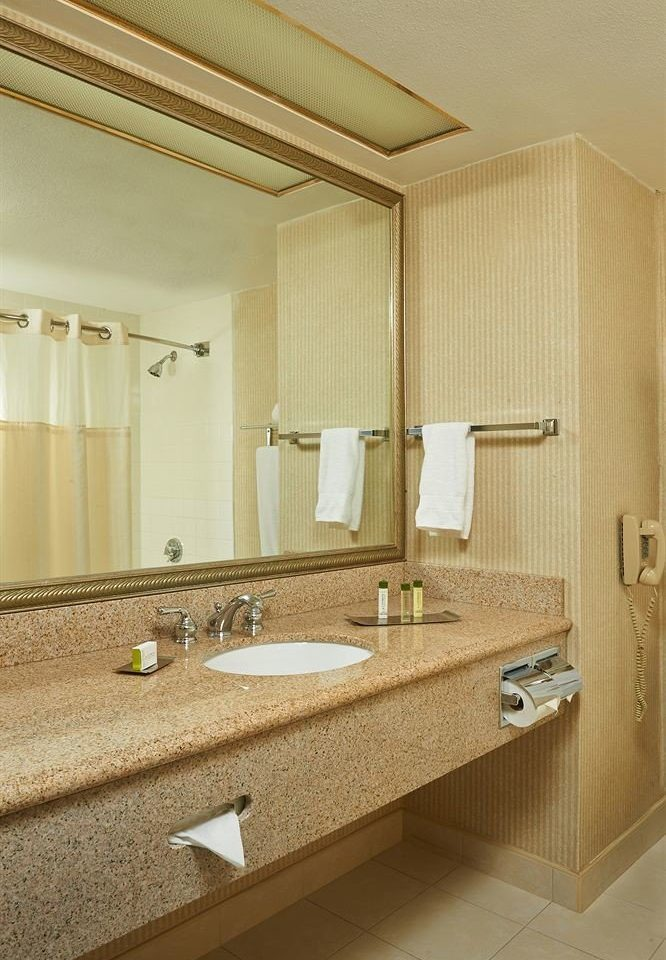 bathroom mirror sink property countertop Suite cabinetry flooring counter tan