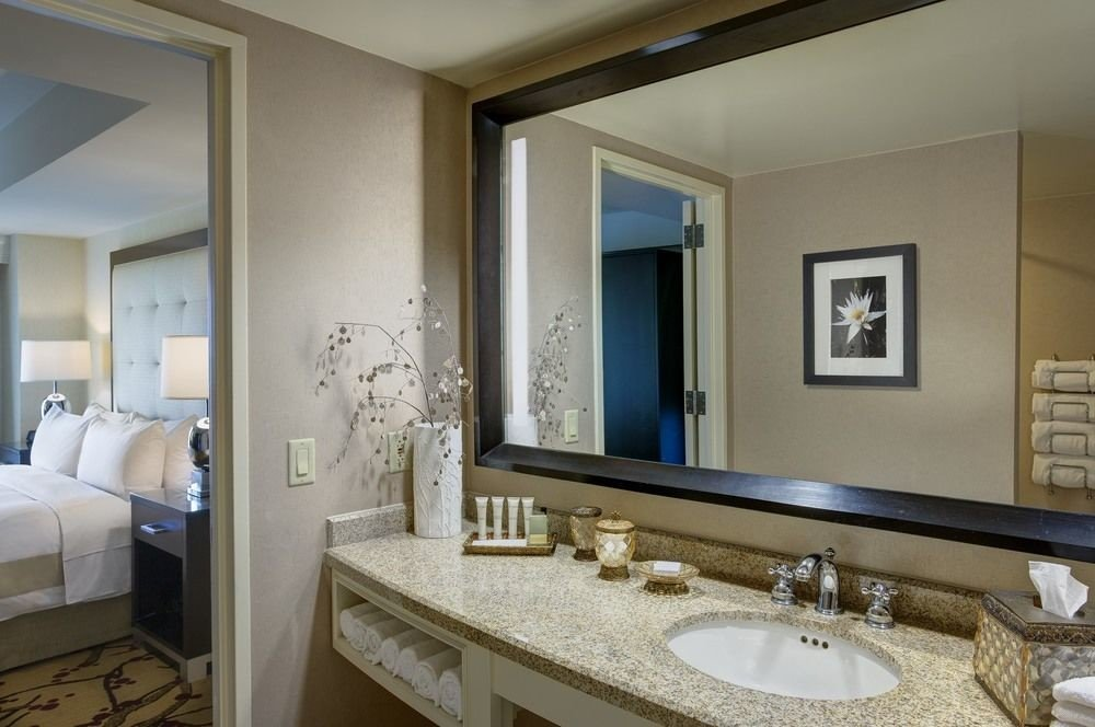 bathroom mirror sink large property Suite home condominium double cottage living room mansion clean