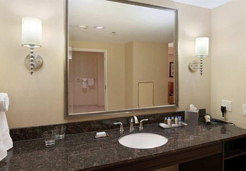 bathroom mirror sink property towel counter Suite vanity double home rack clean
