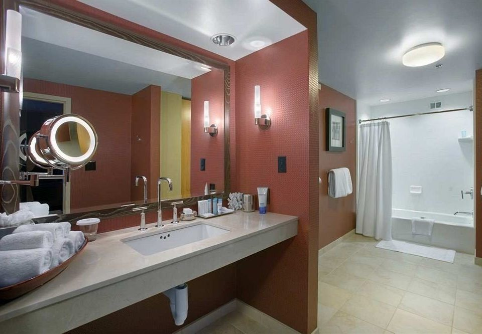 bathroom sink mirror property Suite home condominium tiled