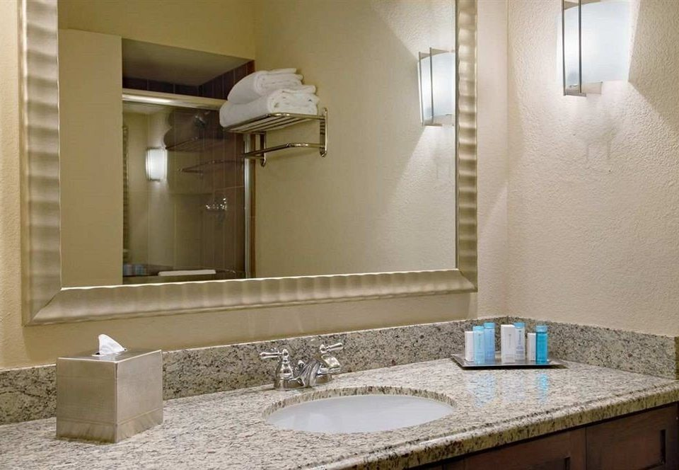 bathroom mirror sink property home Suite counter plumbing fixture flooring countertop cottage vanity tile