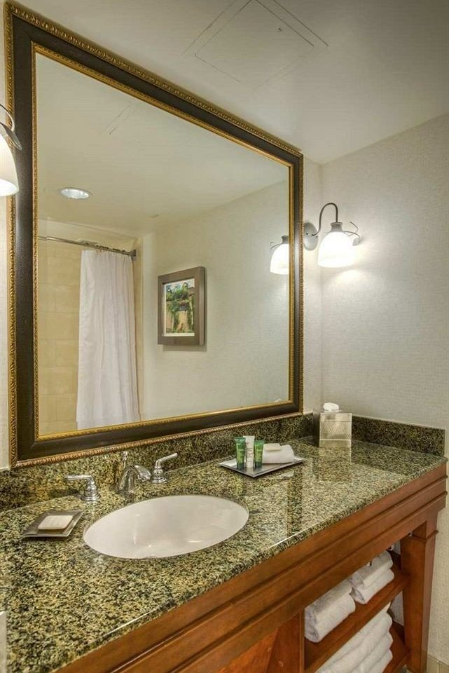 bathroom mirror sink property home vanity counter Suite countertop cottage rack tan tile