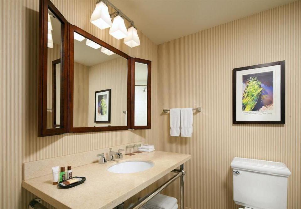 bathroom sink mirror property home cottage Suite rack tan