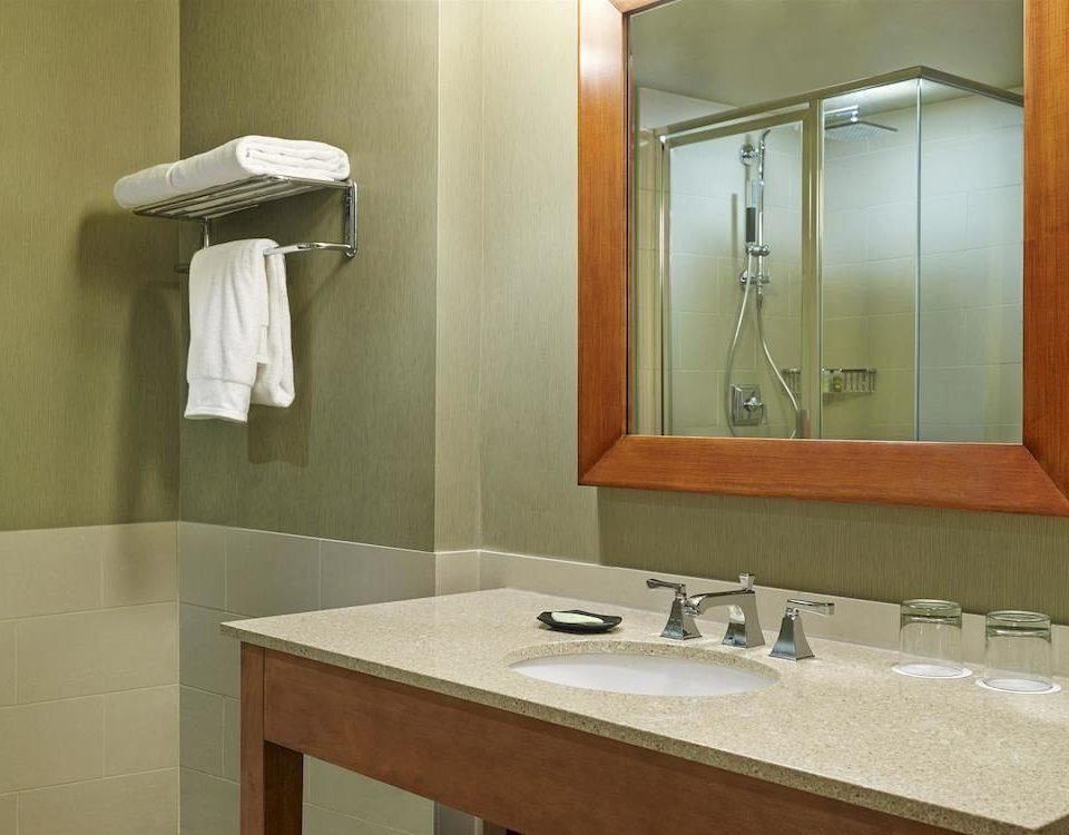 bathroom sink mirror property towel plumbing fixture vanity Suite counter tan