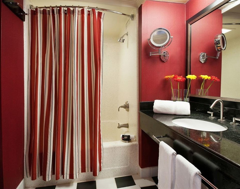 bathroom red sink curtain Suite shower rack