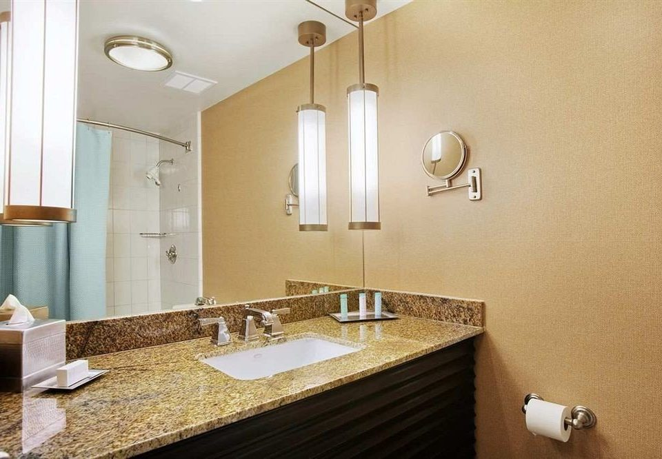 bathroom mirror sink property Suite plumbing fixture flooring tan