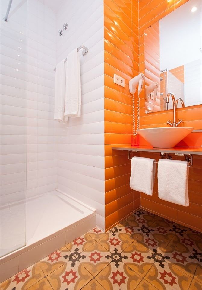 bathroom orange flooring Suite rug tiled tile