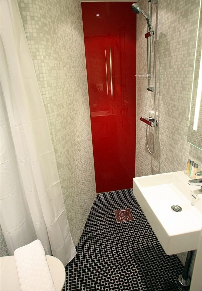 bathroom toilet red property house Suite shower home plumbing fixture tiled tile