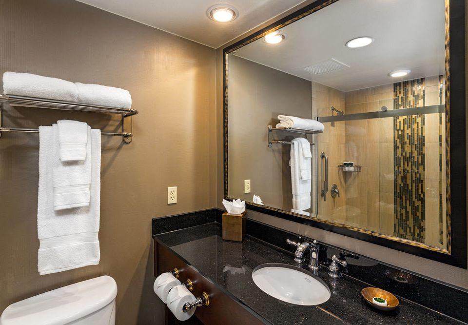 bathroom mirror sink property toilet home Suite towel rack
