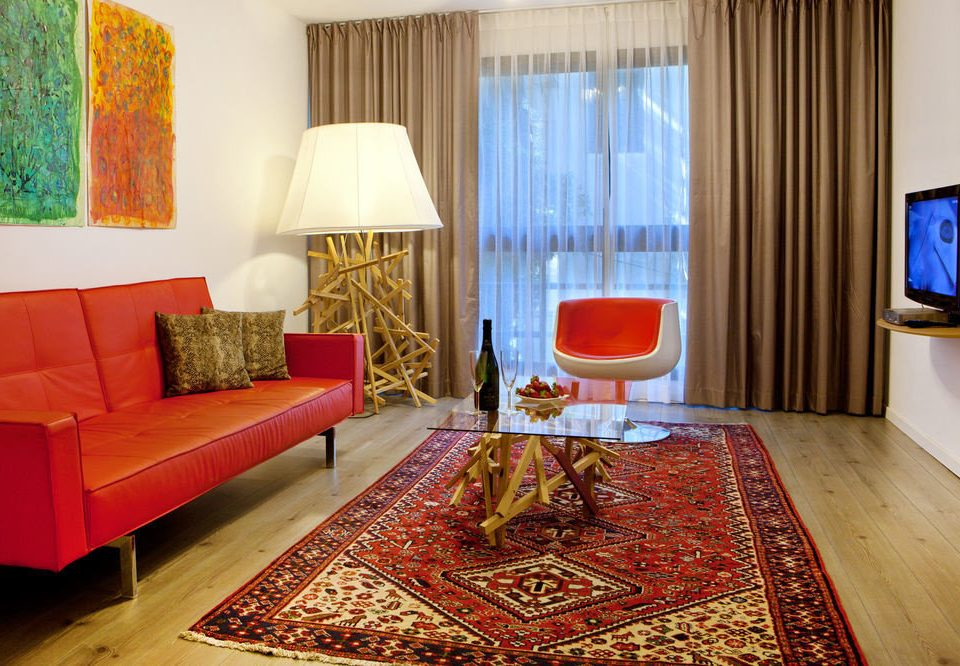 sofa red property rug Suite cottage living room bed sheet