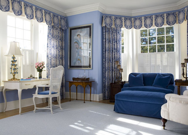 property chair living room home white curtain blue window treatment textile Suite mansion