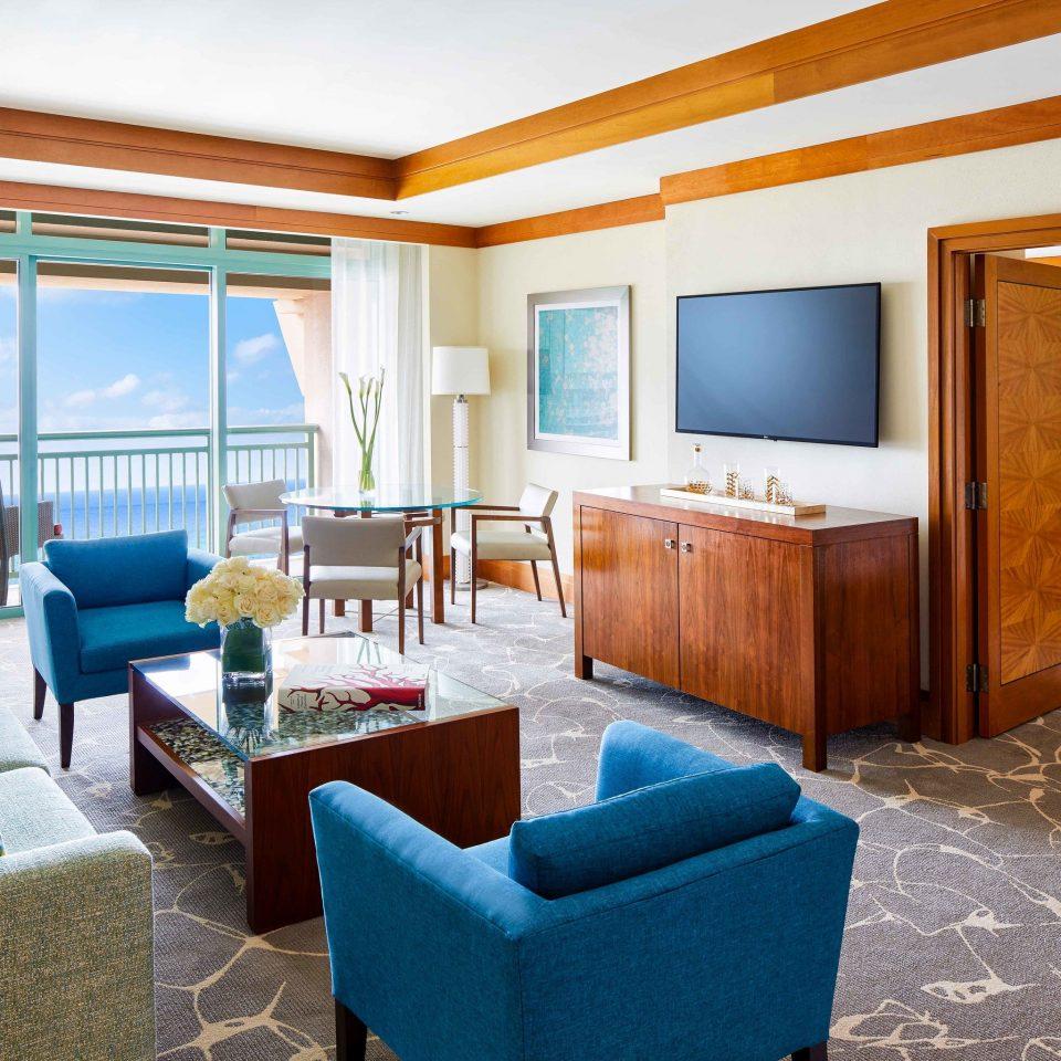 Suite living room penthouse apartment blue interior designer