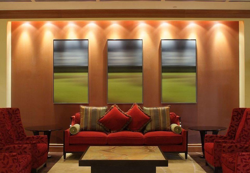 sofa red living room Suite window treatment orange colored