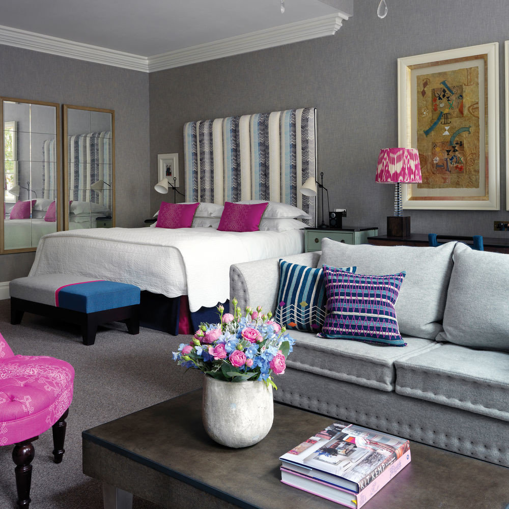 living room sofa pink property home couch Suite colorful