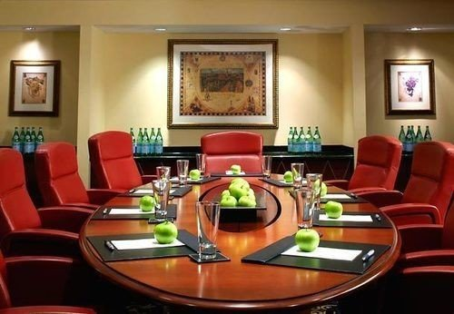 orange red conference hall function hall Suite recreation room set leather dining table