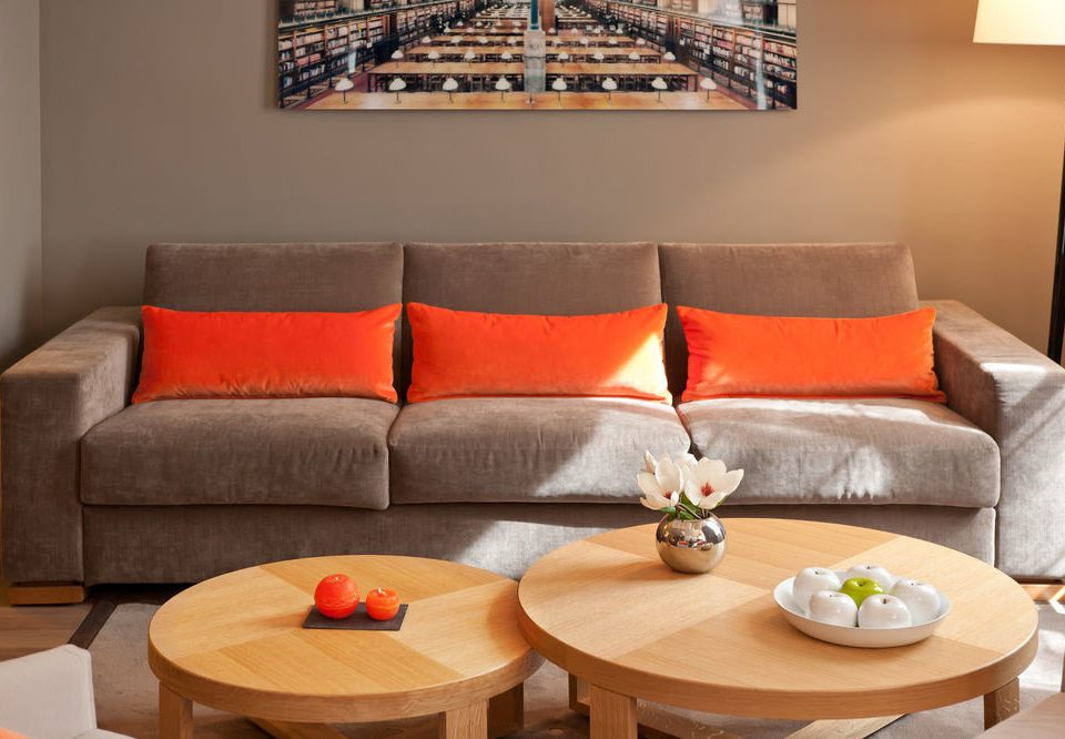 sofa living room property seat couch Suite cottage orange leather
