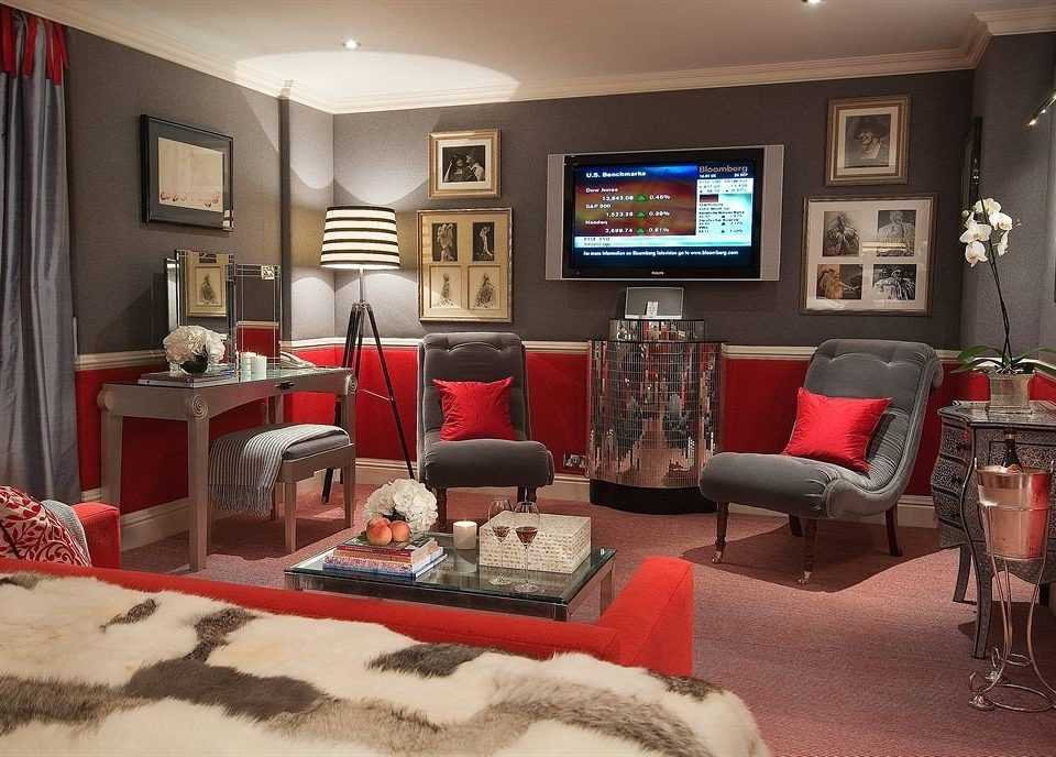 living room property red home cottage Suite flat