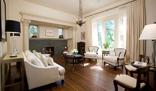 living room property home window treatment Suite hardwood flooring interior designer wood flooring curtain