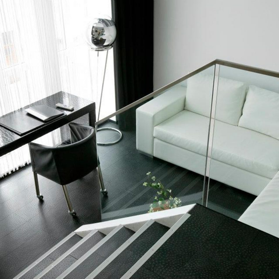 Suite property white living room flooring