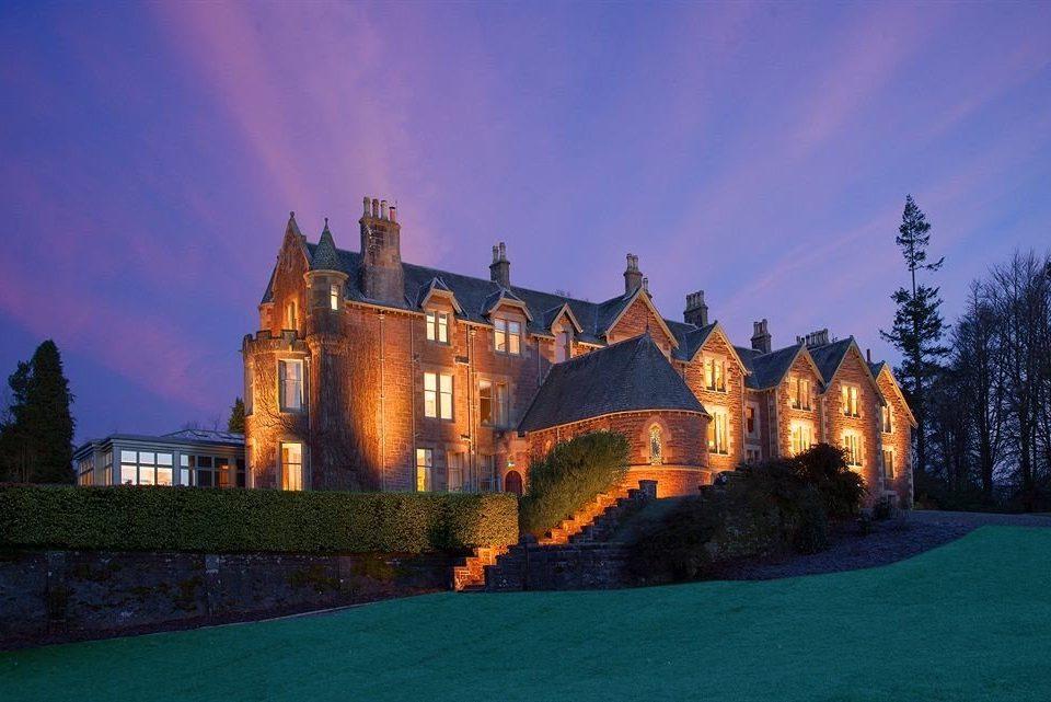 sky landmark building night castle château house evening Sunset dusk
