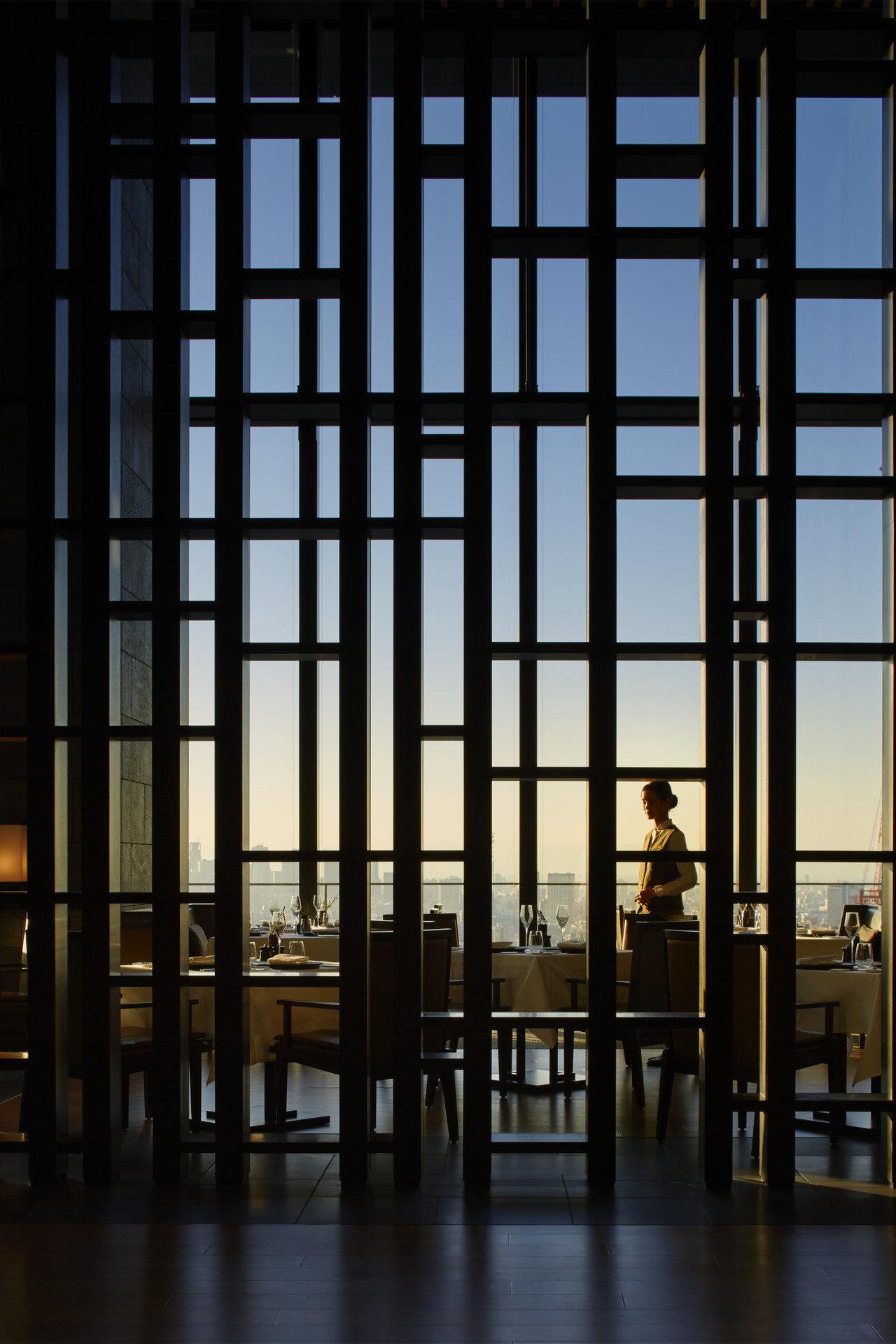 Hotels Japan Tokyo window building Architecture facade reflection interior design headquarters wood symmetry Design tourist attraction glass