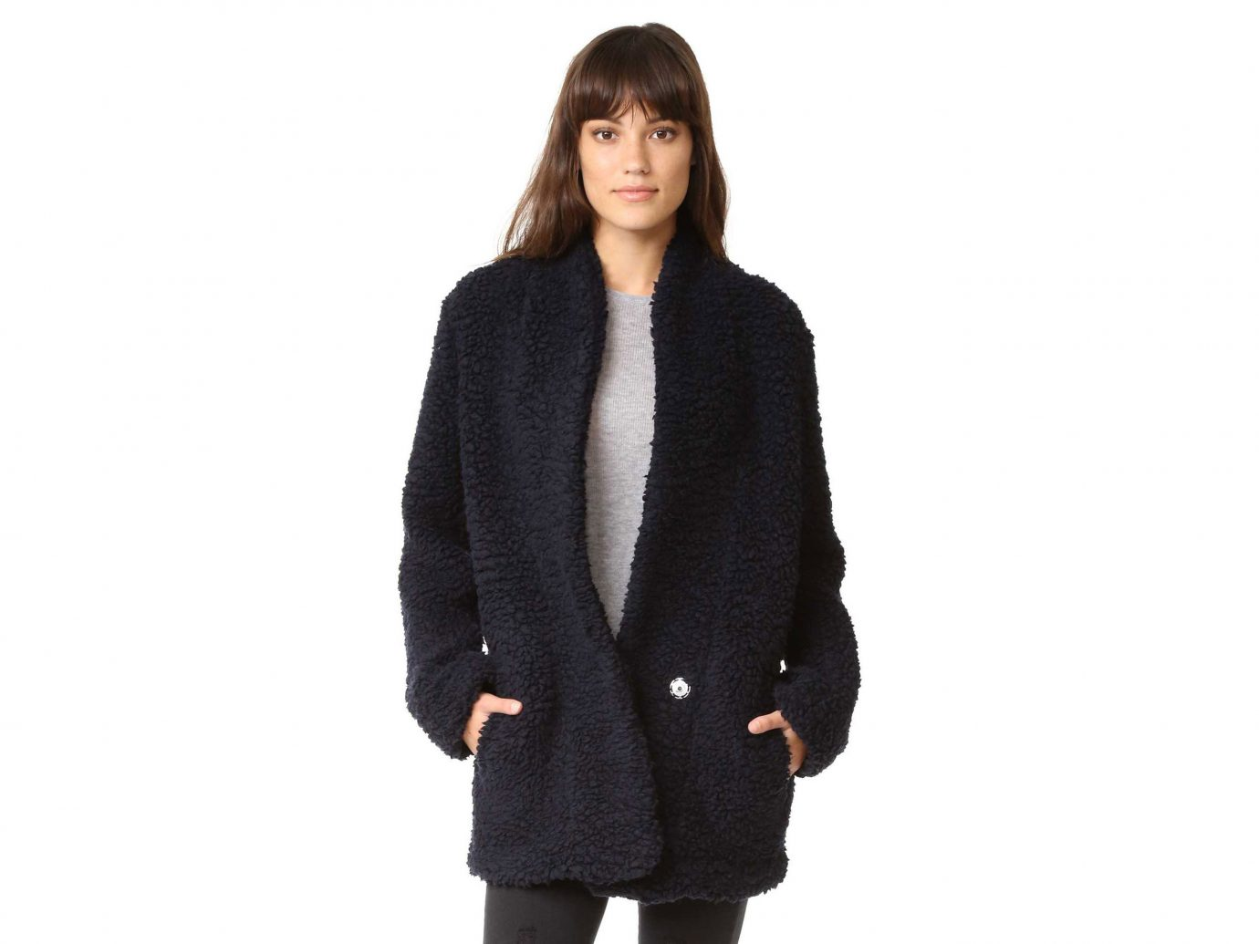 Style + Design person clothing woman outerwear overcoat coat standing wool fur posing woolen hood jacket textile sleeve sweater collar fur clothing lady