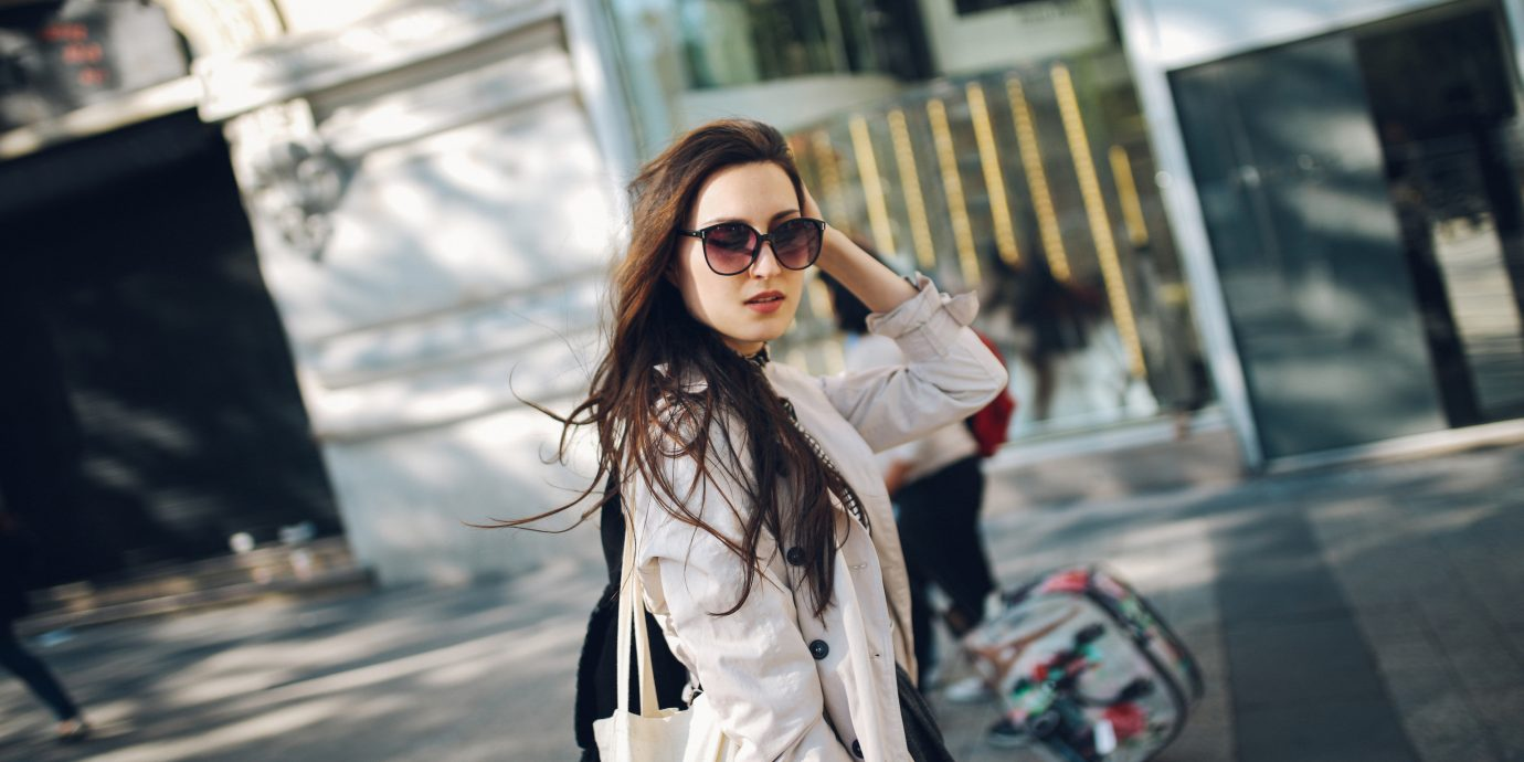 Style + Design outdoor person woman clothing street sidewalk snapshot lady Beauty City fashion dress spring photo shoot model fur outerwear glasses