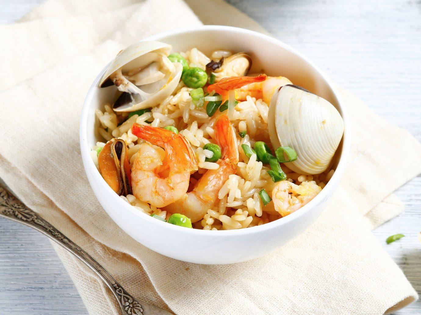 Food + Drink food dish plate cuisine Seafood produce vegetable thai food several