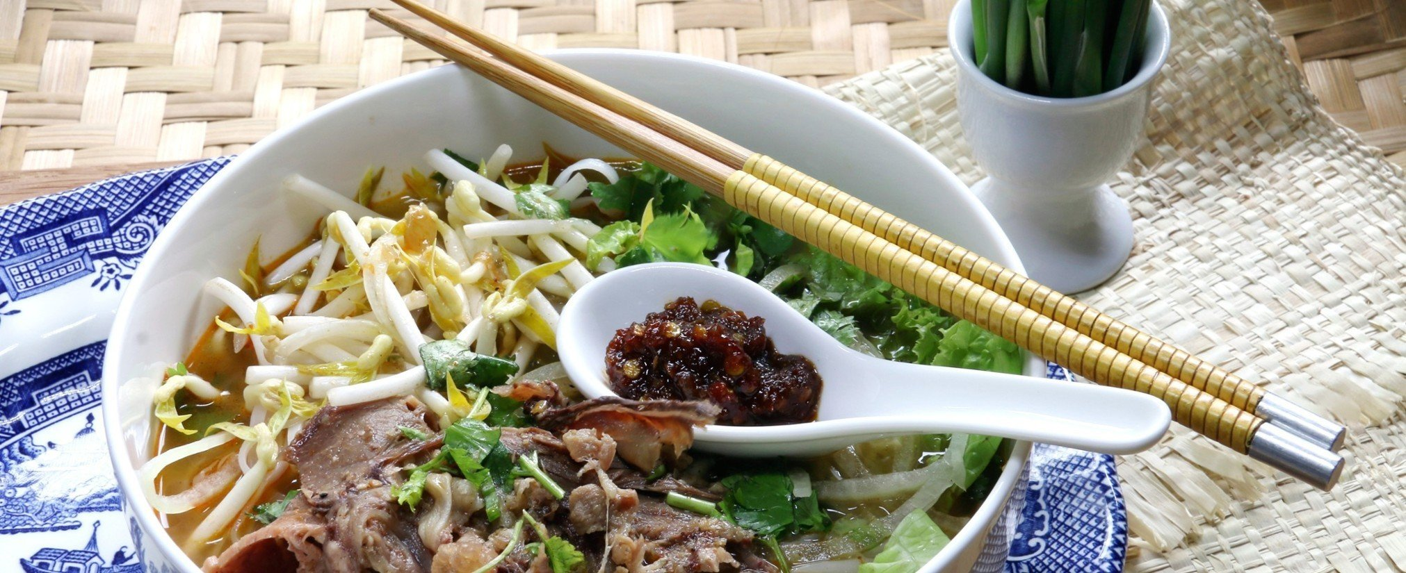 Offbeat food plate table bowl dish cuisine vegetable noodle soup produce meal asian food pho lunch southeast asian food meat