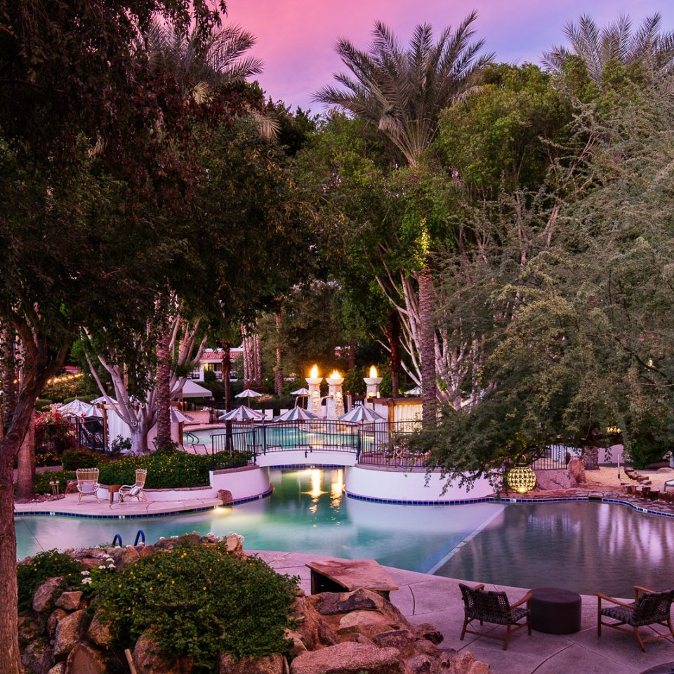 pink sunset pool area