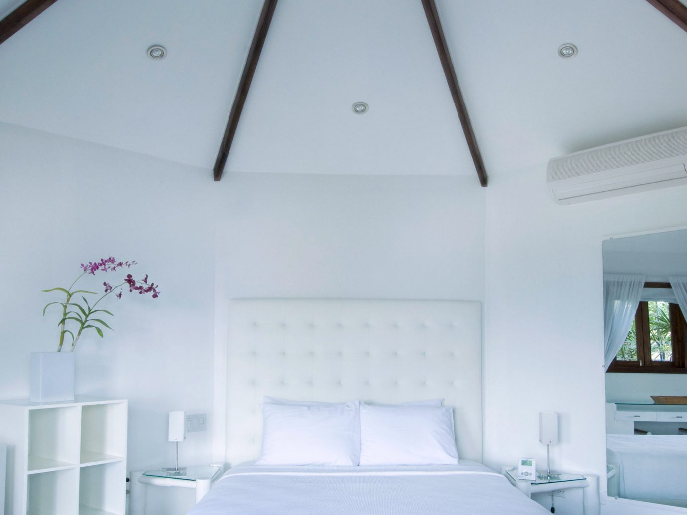 Bedroom Boutique Hotels Tropical indoor wall room property ceiling interior design white daylighting Design cottage estate furniture