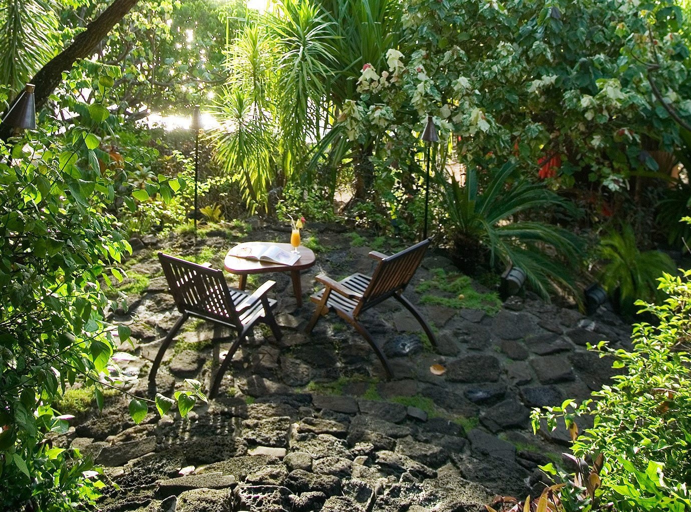 Hotels Lounge Outdoor Activities Outdoors Resort Scenic views tree outdoor bench ground habitat park natural environment wilderness rainforest Forest woodland Garden botany Jungle pond backyard leaf trail yard stream flower plant tropics surrounded porch stone area shade bushes wooded