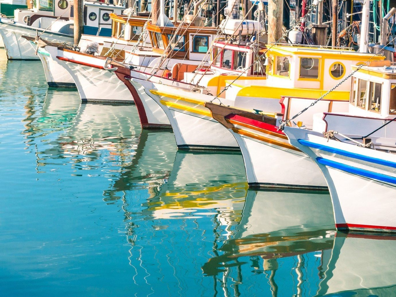 Trip Ideas water Boat outdoor vehicle scene Harbor boating Sea watercraft yellow dock waterway fishing vessel marina port