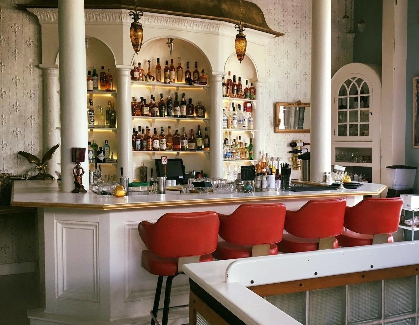 Food + Drink Style + Design Trip Ideas Weekend Getaways interior design table furniture restaurant Bar
