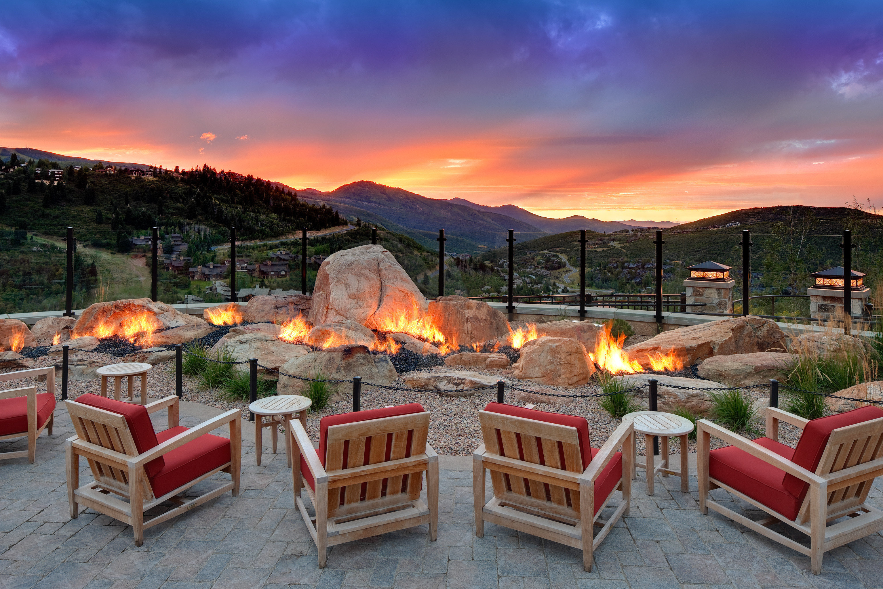 Firepit Fireplace Hip Living Lounge Luxury Modern Trip Ideas sky outdoor chair mountain estate set outdoor structure furniture