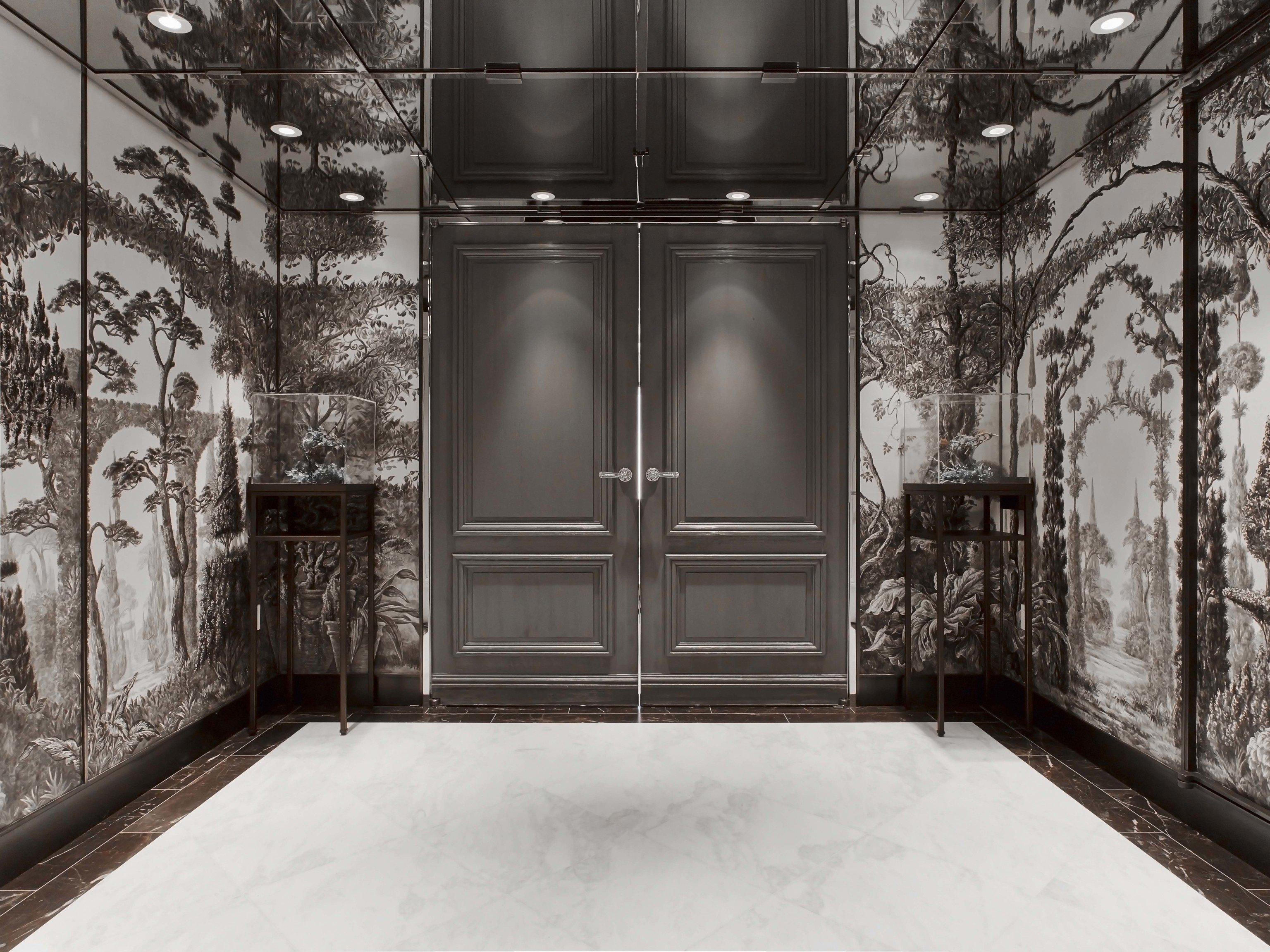 Hotels Luxury Travel wall window snow Winter interior design door black and white glass building
