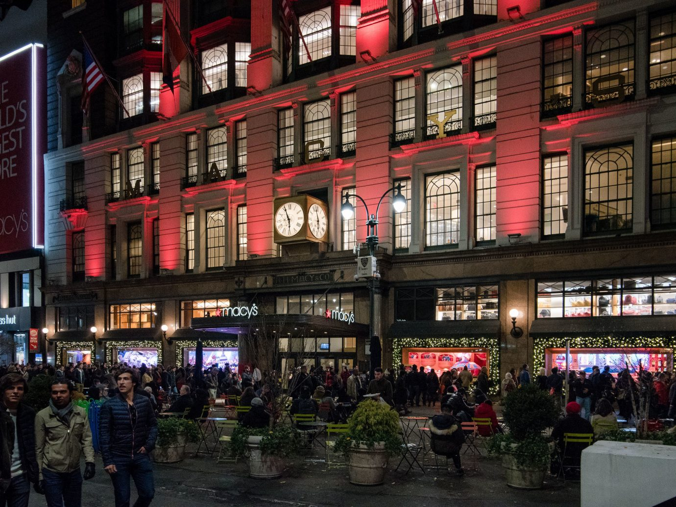 Offbeat Winter building outdoor night landmark metropolitan area City Town urban area street metropolis people neighbourhood mixed use Downtown evening marketplace facade pedestrian market shopping several