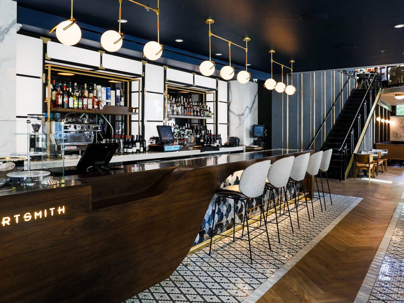 Arts + Culture Food + Drink Hotels Weekend Getaways floor indoor room interior design restaurant Bar furniture area