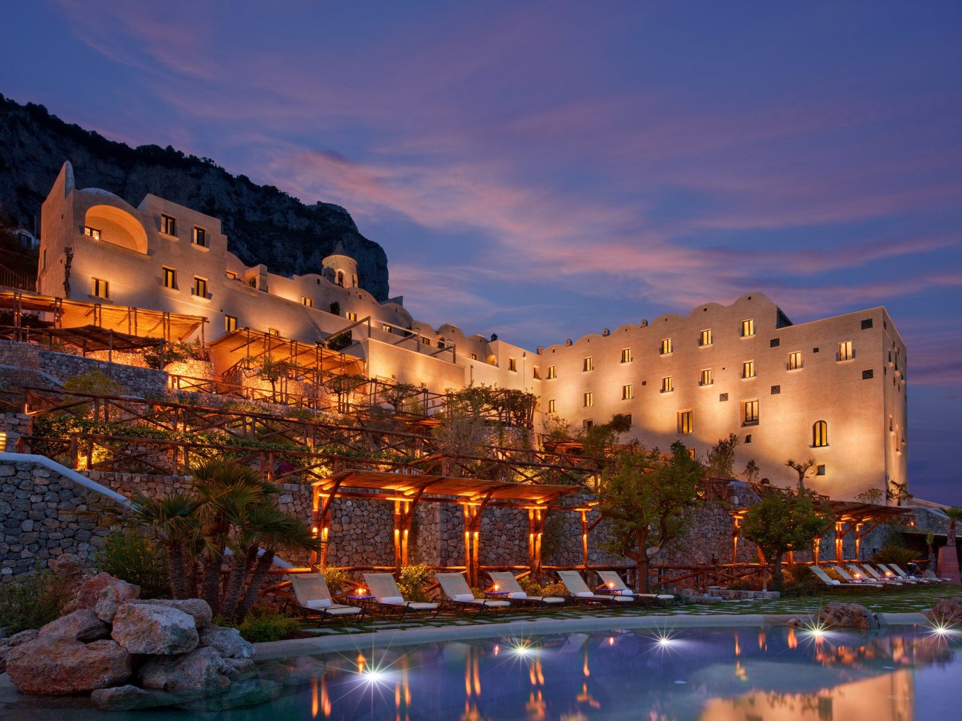 Exterior of Monastero Santa Rosa, Conca dei Marini at night