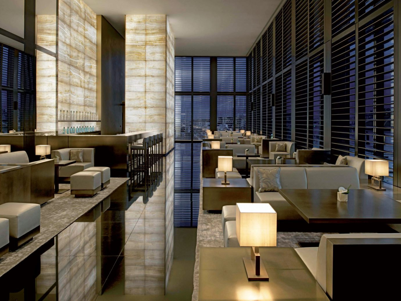 Bar Drink Eat Hip Hotels Italy Milan Modern window indoor room Lobby Architecture interior design condominium headquarters Design lighting convention center window covering professional office overlooking tub furniture