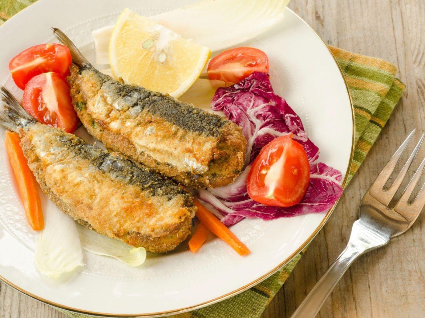 Food + Drink plate food table dish produce cuisine meat vegetable sardine meal fish sliced