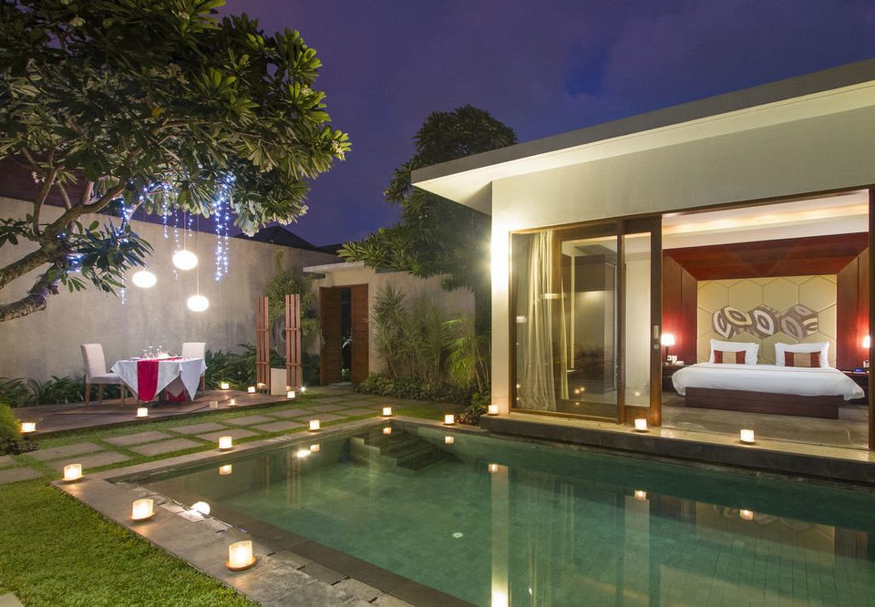 property swimming pool house home Villa mansion backyard condominium landscape lighting