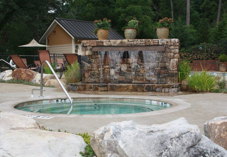 tree swimming pool property rock backyard pond water feature Villa cottage yard landscaping zoo stone