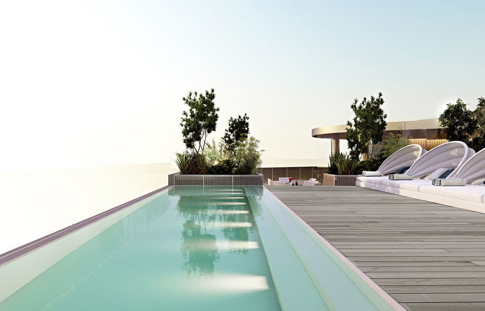 sky swimming pool way scene road property leisure reflecting pool Villa highway daylighting outdoor structure backyard roof