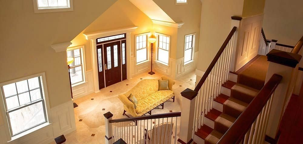 property home house cottage hardwood Villa living room stairs farmhouse
