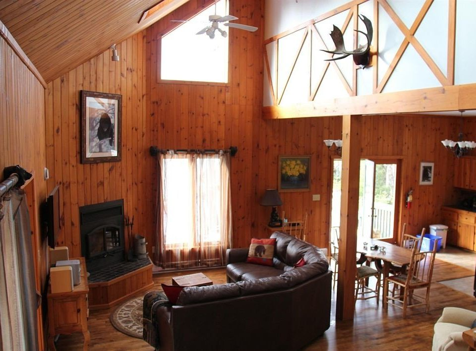 property living room cottage home hardwood farmhouse log cabin Villa