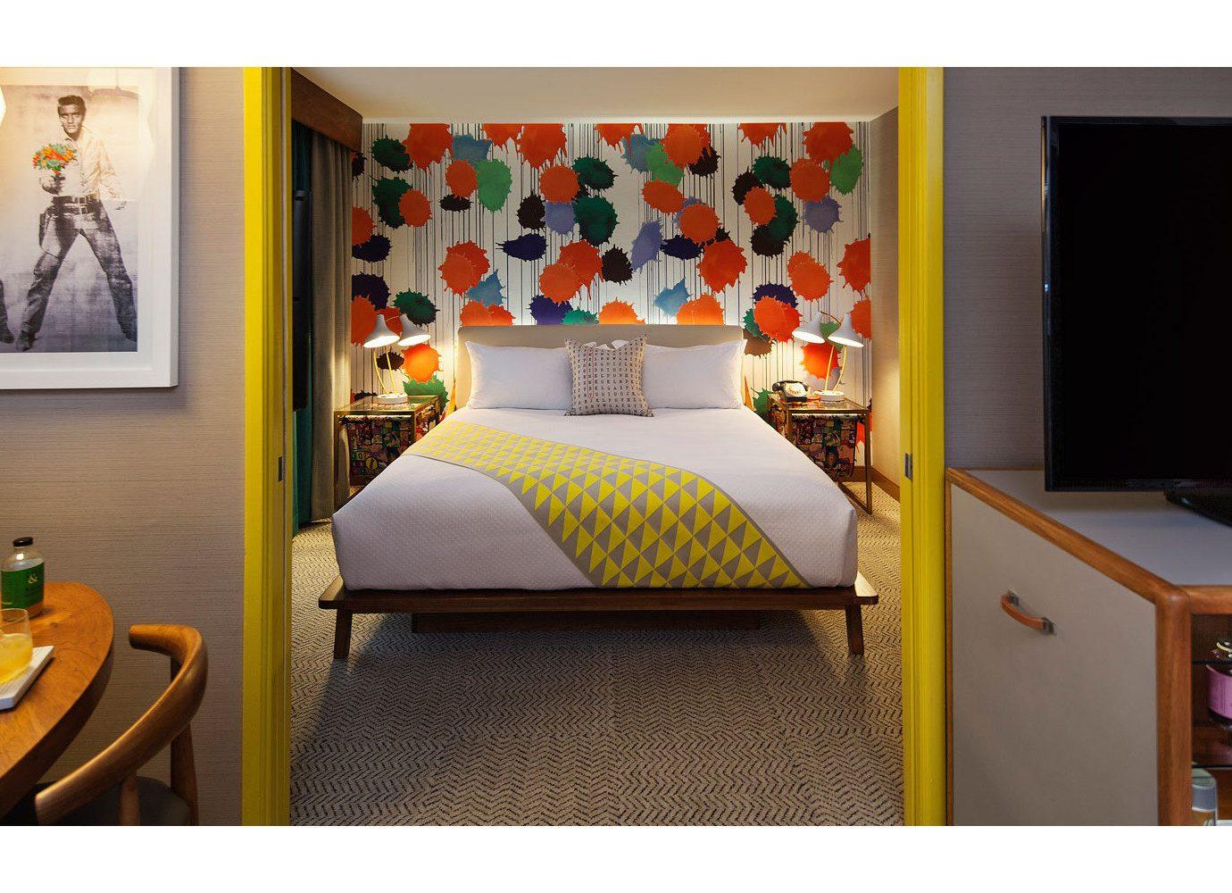 Hotels wall indoor room property living room Bedroom yellow furniture interior design bed bed sheet home Suite modern art Design