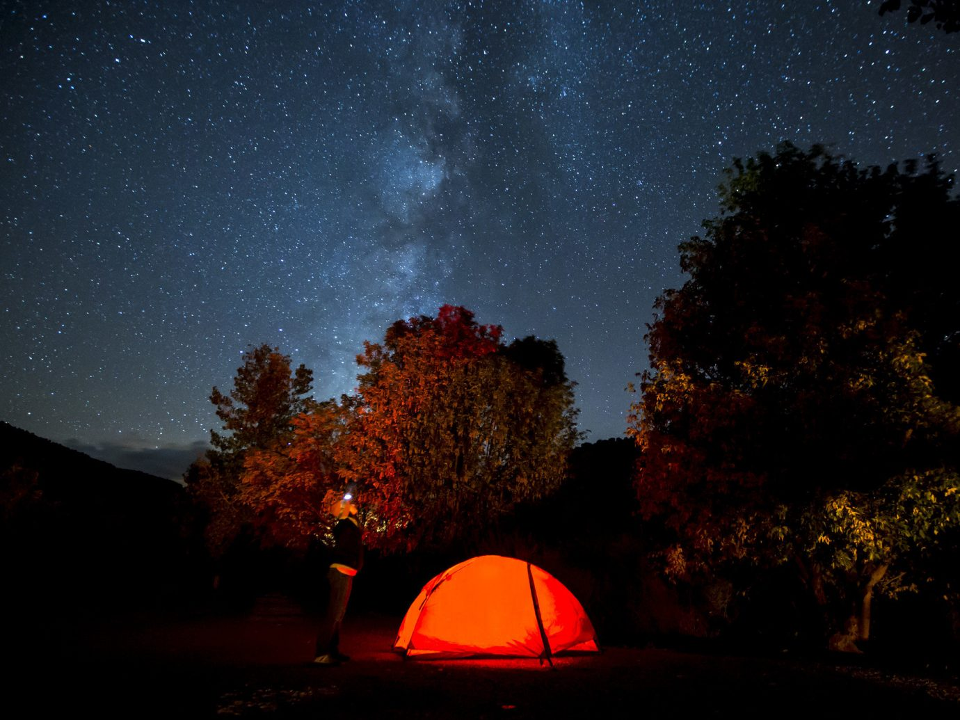calm camping majestic Nature night night lights Night Sky Outdoor Activities Outdoors remote serene stars tent Travel Tips trees wilderness tree outdoor sky outdoor object light atmosphere darkness astronomical object dark star evening astronomy moonlight midnight Sunset