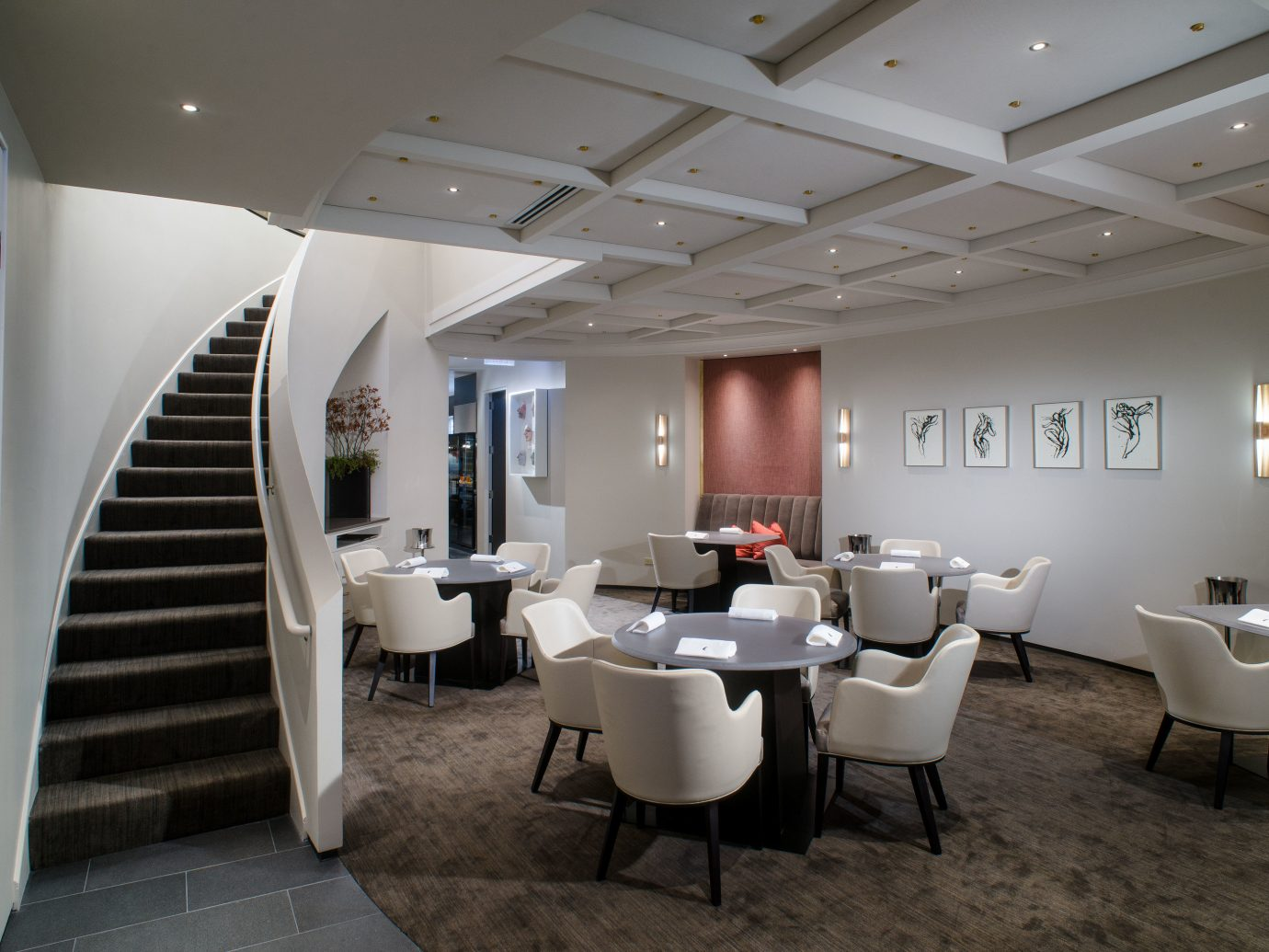 Food + Drink indoor floor ceiling wall chair room conference hall interior design furniture Design Lobby waiting room convention center estate Bedroom