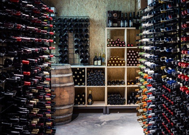 basement man made object retail Winery aisle wine cellar lined